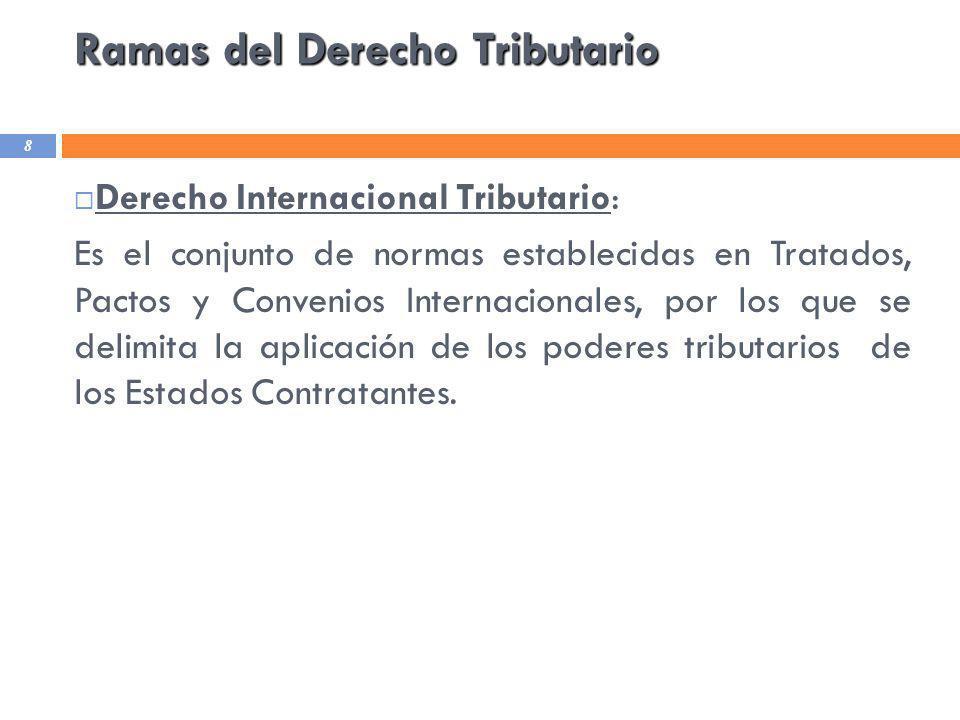 Ramas del Derecho Tributario 8 Derecho Internacional Tributario: Es el conjunto de normas establecidas en Tratados, Pactos y Convenios Internacionales
