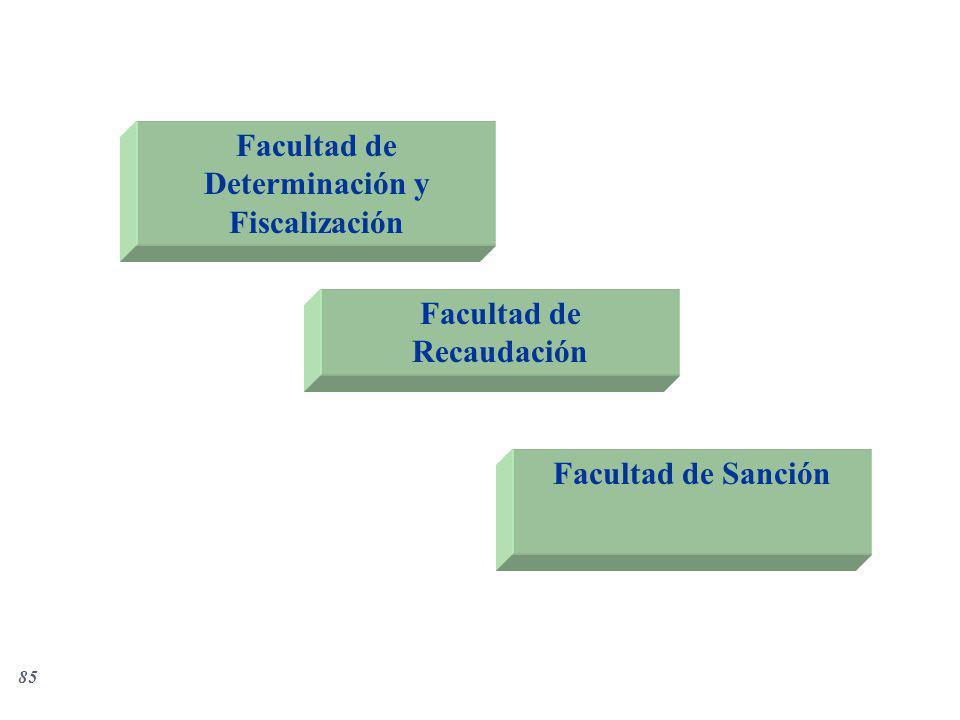 85 Facultad de Determinación y Fiscalización Facultad de Recaudación Facultad de Sanción