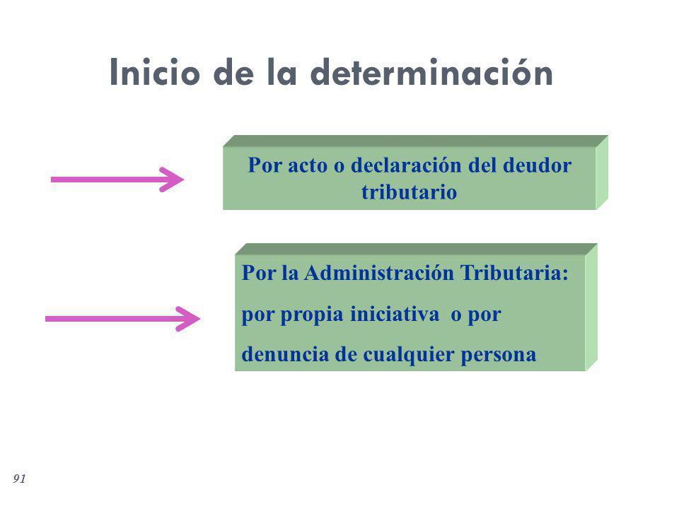 91 Inicio de la determinación Por acto o declaración del deudor tributario Por la Administración Tributaria: por propia iniciativa o por denuncia de c