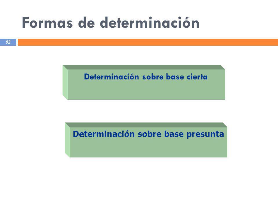 Formas de determinación 92 Determinación sobre base cierta Determinación sobre base presunta