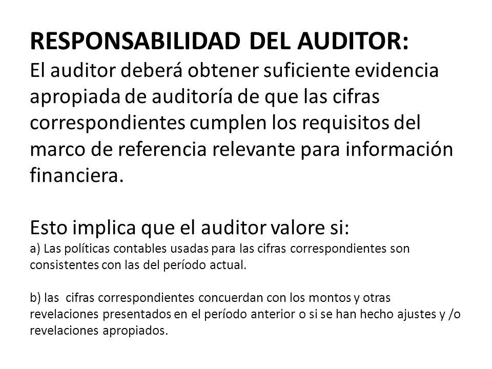 RESPONSABILIDAD DEL AUDITOR: El auditor deberá obtener suficiente evidencia apropiada de auditoría de que las cifras correspondientes cumplen los requisitos del marco de referencia relevante para información financiera.