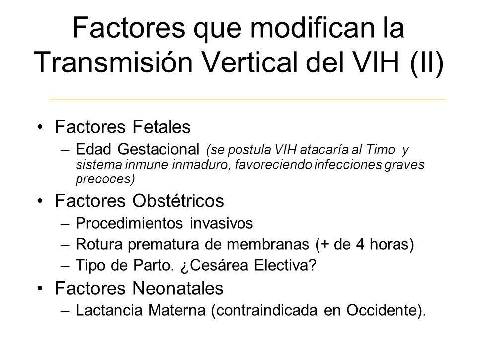 Factores que modifican la Transmisión Vertical del VIH (II) Factores Fetales –Edad Gestacional (se postula VIH atacaría al Timo y sistema inmune inmad