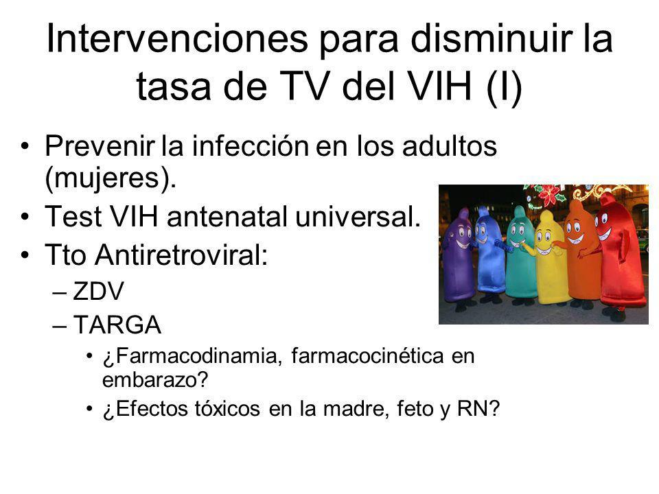 Intervenciones para disminuir la tasa de TV del VIH (I) Prevenir la infección en los adultos (mujeres). Test VIH antenatal universal. Tto Antiretrovir