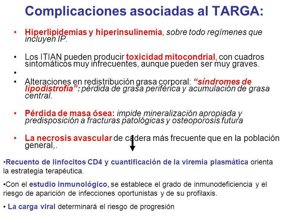 Complicaciones asociadas al TARGA: Hiperlipidemias y hiperinsulinemia, sobre todo regímenes que incluyen IP. Los ITIAN pueden producir toxicidad mitoc