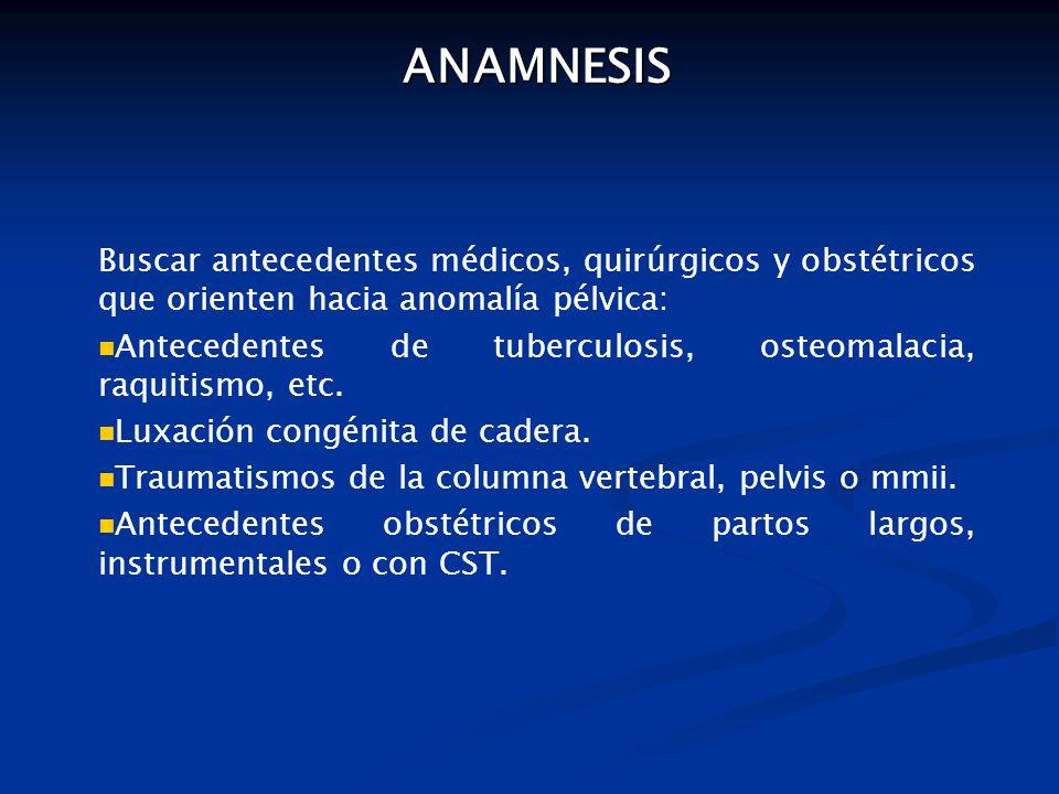 ANAMNESIS ANAMNESIS Buscar antecedentes médicos, quirúrgicos y obstétricos que orienten hacia anomalía pélvica: Antecedentes de tuberculosis, osteomalacia, raquitismo, etc.