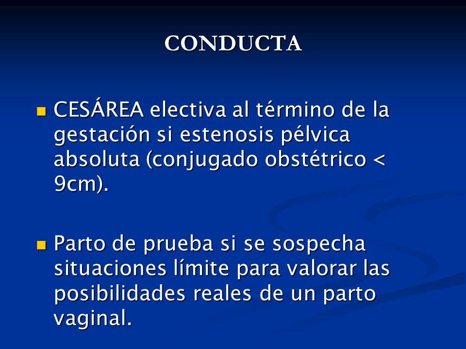 CONDUCTA CESÁREA electiva al término de la gestación si estenosis pélvica absoluta (conjugado obstétrico < 9cm).