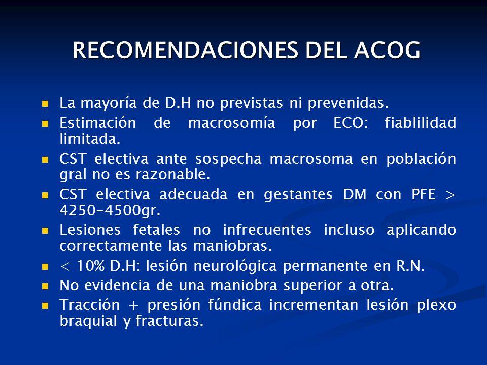 RECOMENDACIONES DEL ACOG RECOMENDACIONES DEL ACOG La mayoría de D.H no previstas ni prevenidas.