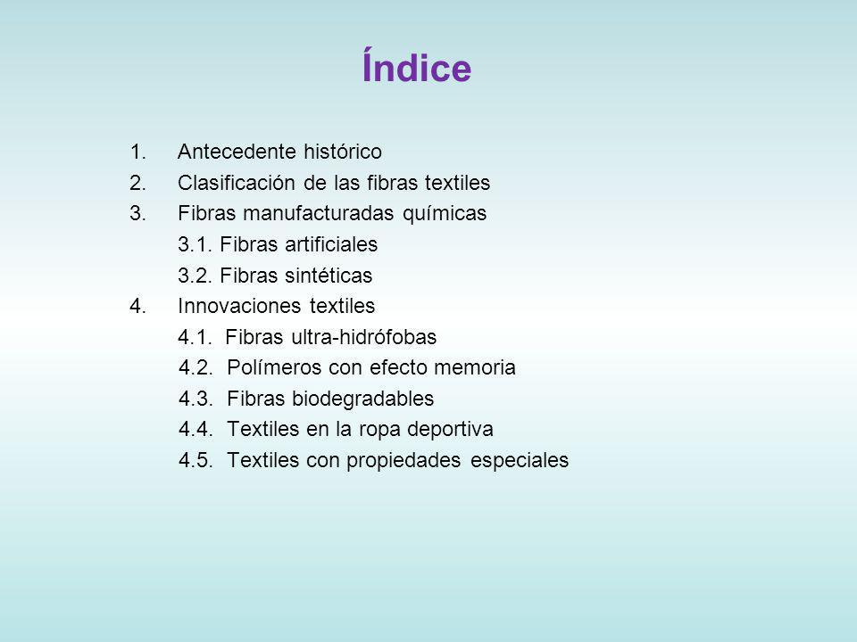Índice 1.Antecedente histórico 2.Clasificación de las fibras textiles 3.Fibras manufacturadas químicas 3.1.