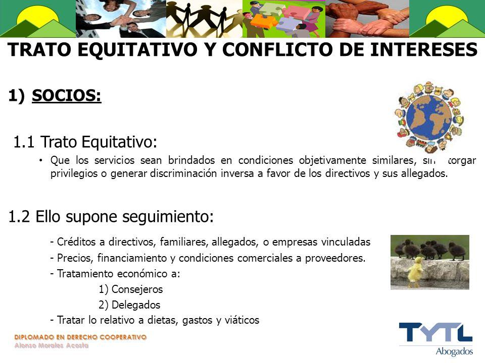 DIPLOMADO EN DERECHO COOPERATIVO Alonso Morales Acosta TRATO EQUITATIVO Y CONFLICTO DE INTERESES 1)SOCIOS: 1.1 Trato Equitativo: Que los servicios sea
