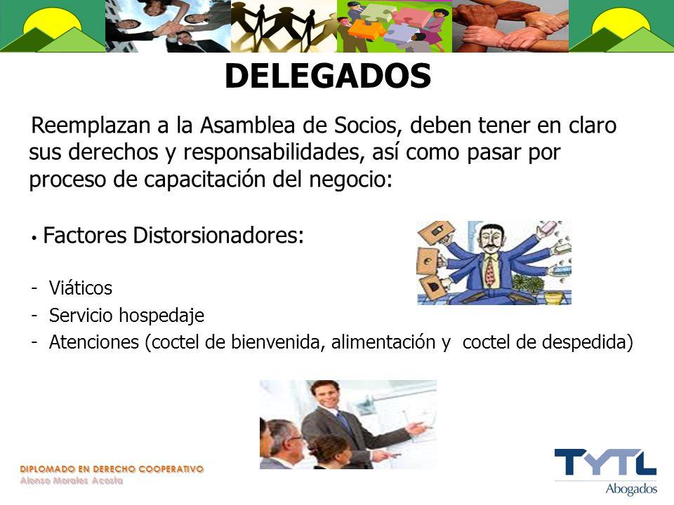 DIPLOMADO EN DERECHO COOPERATIVO Alonso Morales Acosta DELEGADOS Reemplazan a la Asamblea de Socios, deben tener en claro sus derechos y responsabilid