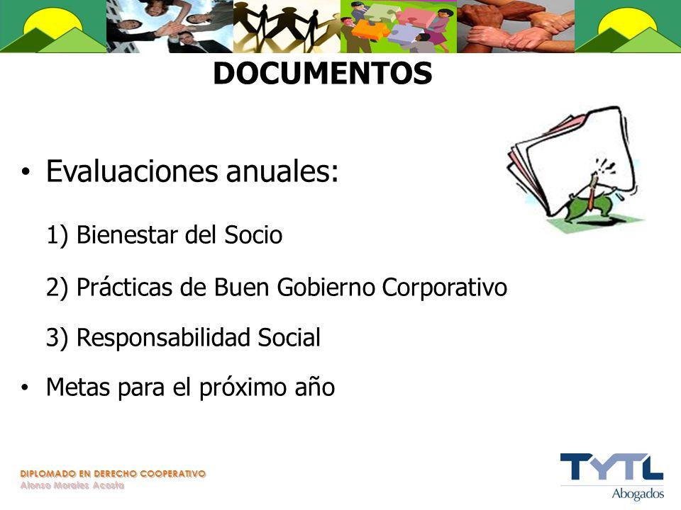 DIPLOMADO EN DERECHO COOPERATIVO Alonso Morales Acosta DOCUMENTOS Evaluaciones anuales: 1) Bienestar del Socio 2) Prácticas de Buen Gobierno Corporati