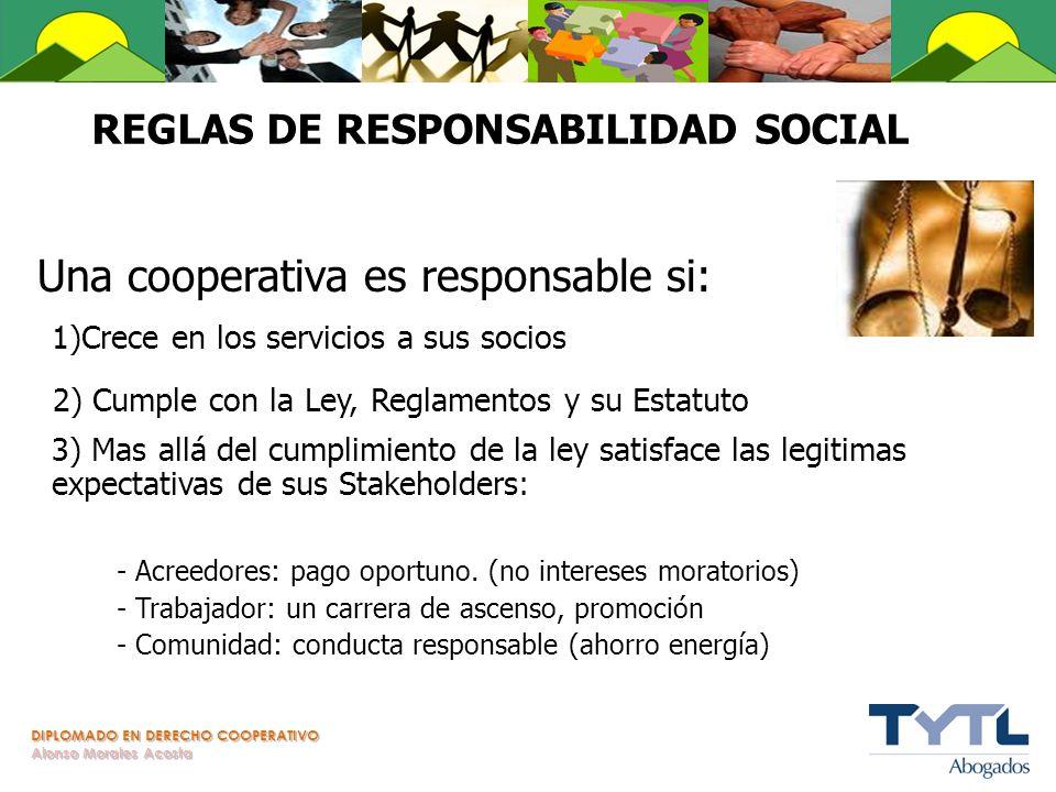 DIPLOMADO EN DERECHO COOPERATIVO Alonso Morales Acosta REGLAS DE RESPONSABILIDAD SOCIAL Una cooperativa es responsable si: 1)Crece en los servicios a