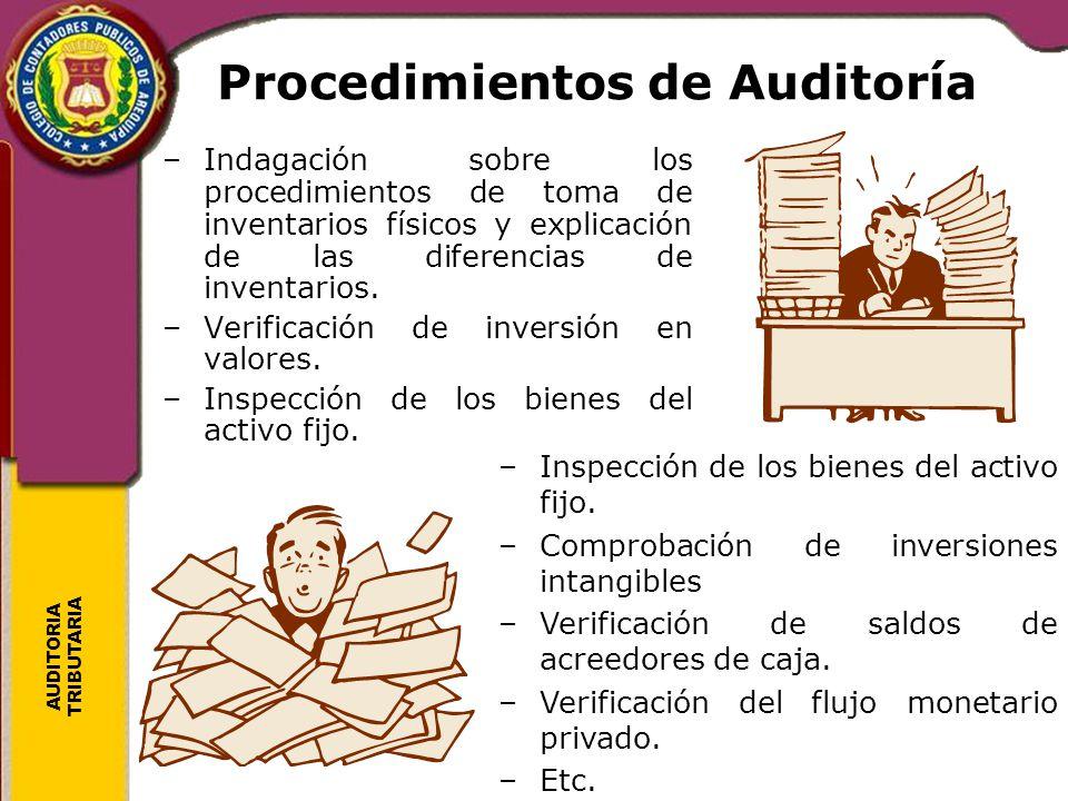 AUDITORIA TRIBUTARIA Procedimientos de Auditoría –Indagación sobre los procedimientos de toma de inventarios físicos y explicación de las diferencias
