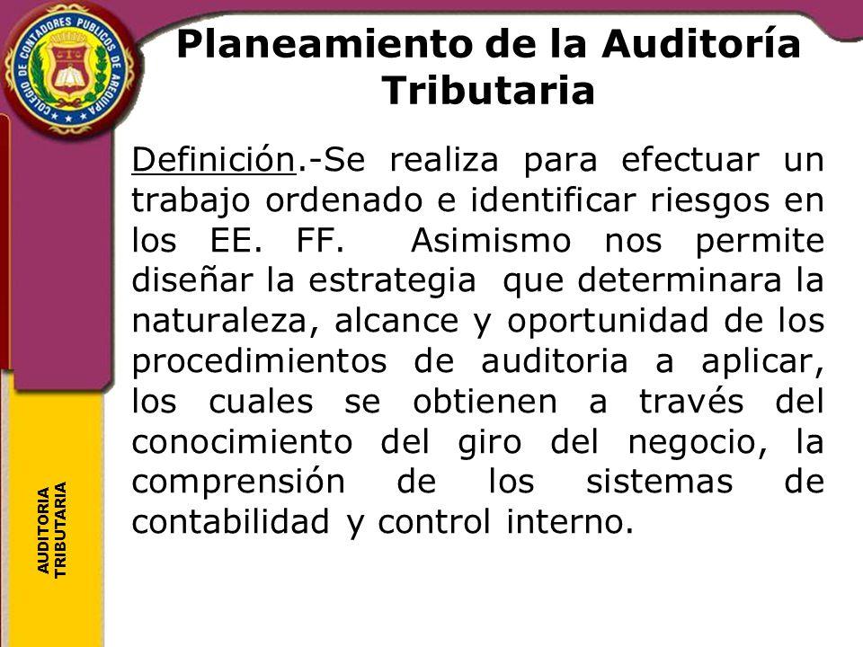 AUDITORIA TRIBUTARIA Planeamiento de la Auditoría Tributaria Definición.-Se realiza para efectuar un trabajo ordenado e identificar riesgos en los EE.