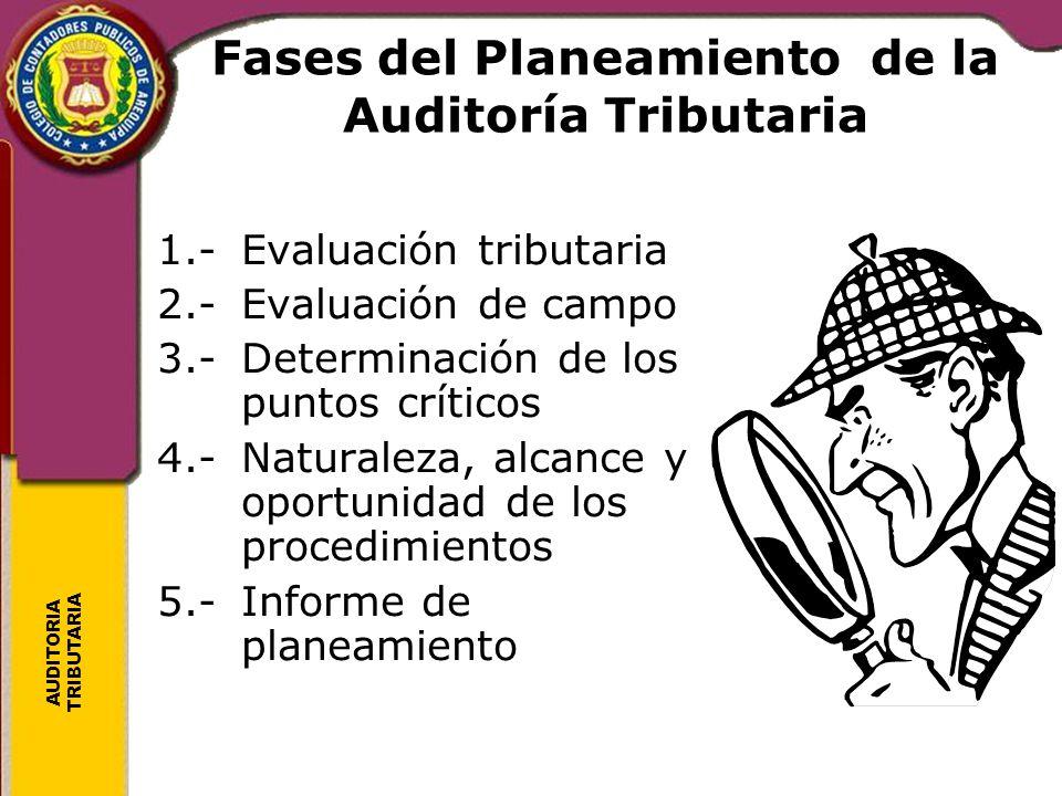 AUDITORIA TRIBUTARIA Fases del Planeamiento de la Auditoría Tributaria 1.-Evaluación tributaria 2.-Evaluación de campo 3.-Determinación de los puntos