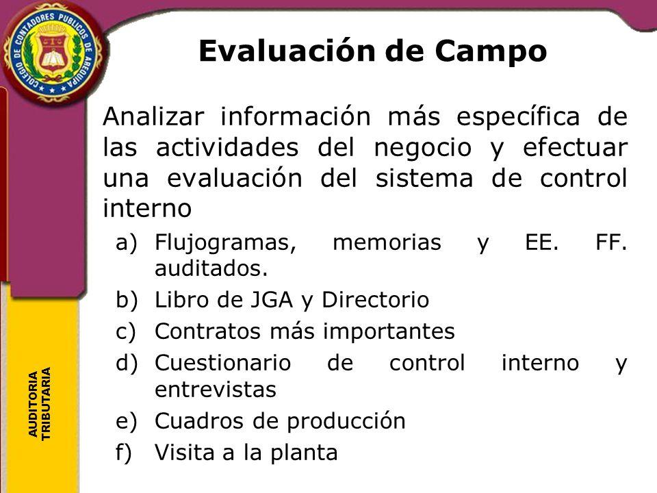 AUDITORIA TRIBUTARIA Evaluación de Campo Analizar información más específica de las actividades del negocio y efectuar una evaluación del sistema de c