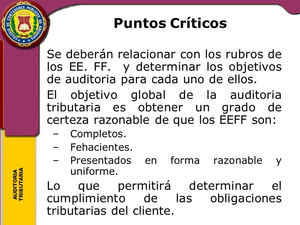 AUDITORIA TRIBUTARIA Puntos Críticos Se deberán relacionar con los rubros de los EE. FF. y determinar los objetivos de auditoria para cada uno de ello