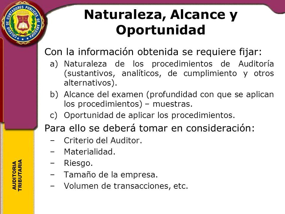 AUDITORIA TRIBUTARIA Naturaleza, Alcance y Oportunidad Con la información obtenida se requiere fijar: a)Naturaleza de los procedimientos de Auditoría