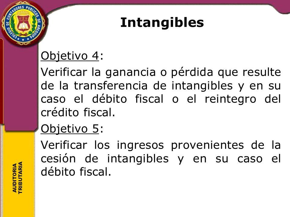 AUDITORIA TRIBUTARIA Intangibles Objetivo 4: Verificar la ganancia o pérdida que resulte de la transferencia de intangibles y en su caso el débito fis