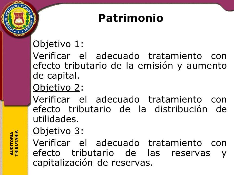 AUDITORIA TRIBUTARIA Patrimonio Objetivo 1: Verificar el adecuado tratamiento con efecto tributario de la emisión y aumento de capital. Objetivo 2: Ve