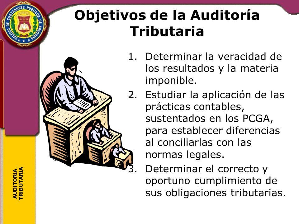 AUDITORIA TRIBUTARIA Objetivos de la Auditoría Tributaria 1.Determinar la veracidad de los resultados y la materia imponible. 2.Estudiar la aplicación