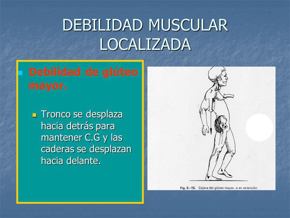 DEBILIDAD MUSCULAR LOCALIZADA Debilidad de glúteo mayor.