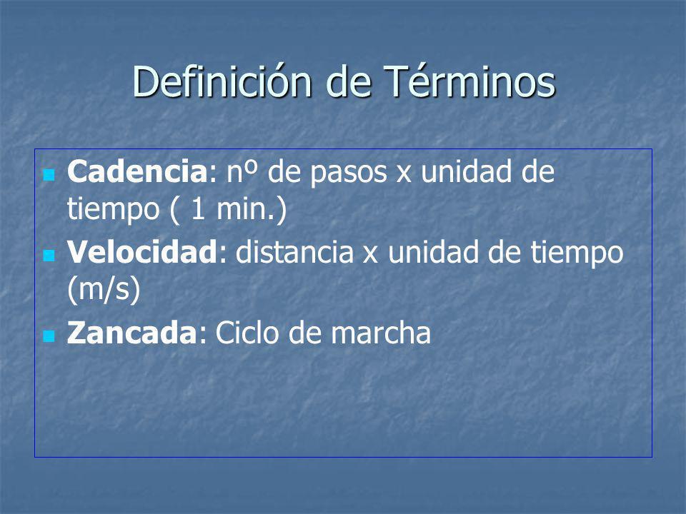 Definición de Términos Cadencia: nº de pasos x unidad de tiempo ( 1 min.) Velocidad: distancia x unidad de tiempo (m/s) Zancada: Ciclo de marcha