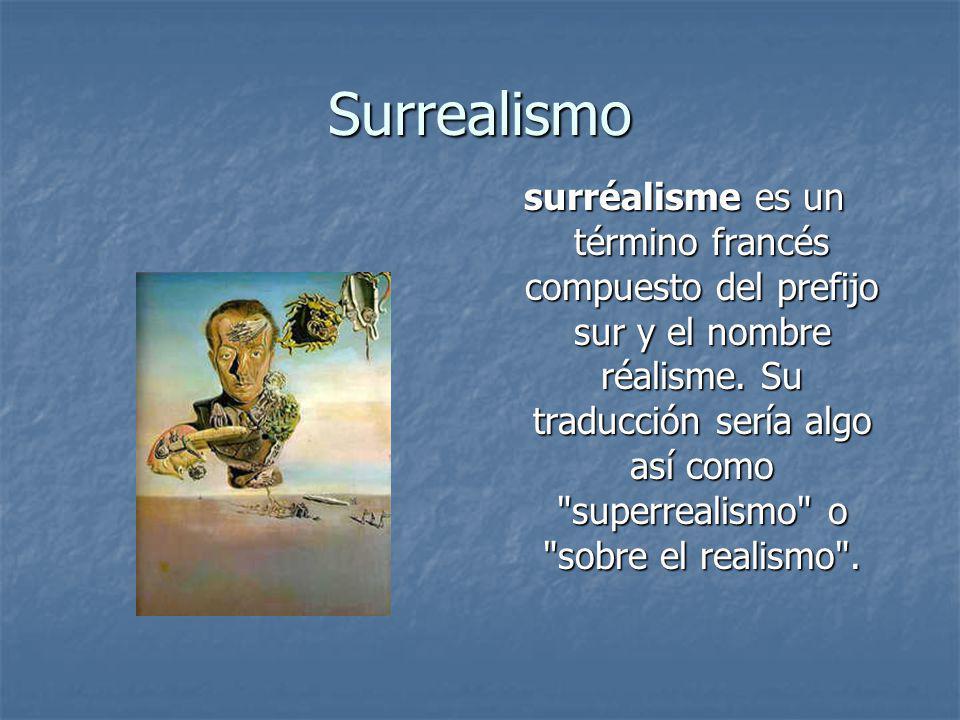 Surrealismo surréalisme es un término francés compuesto del prefijo sur y el nombre réalisme. Su traducción sería algo así como