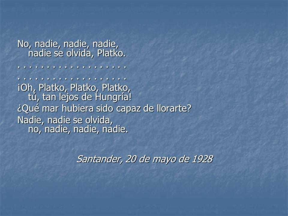 No, nadie, nadie, nadie, nadie se olvida, Platko.................... ¡Oh, Platko, Platko, Platko, tú, tan lejos de Hungría! ¿Qué mar hubiera sido capa