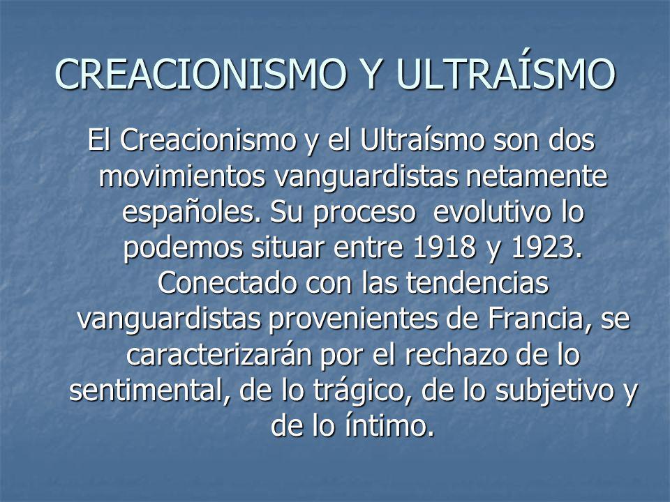 CREACIONISMO Y ULTRAÍSMO El Creacionismo y el Ultraísmo son dos movimientos vanguardistas netamente españoles. Su proceso evolutivo lo podemos situar