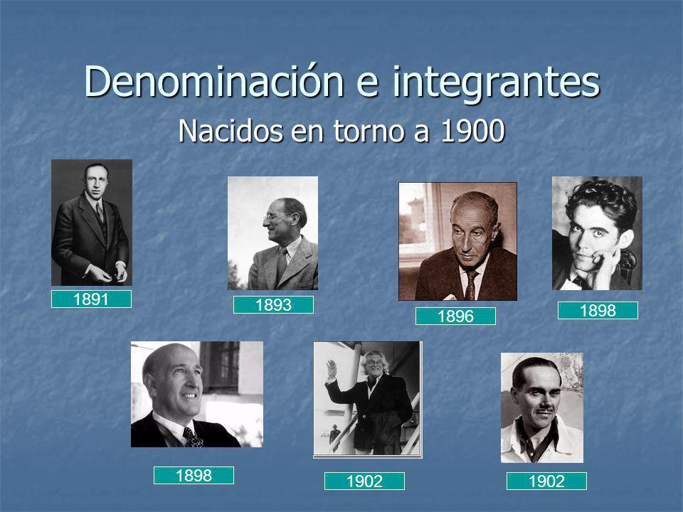 Denominación e integrantes Nacidos en torno a 1900 1891 1896 1898 1902 1893