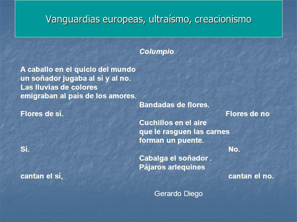Vanguardias europeas, ultraísmo, creacionismo Columpio A caballo en el quicio del mundo un soñador jugaba al sí y al no. Las lluvias de colores emigra