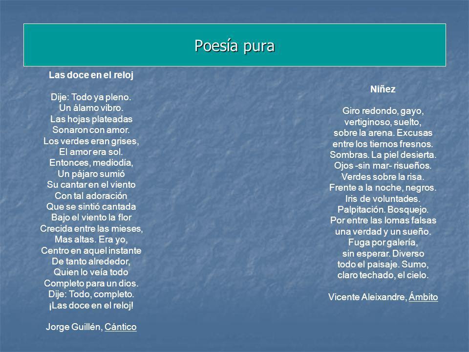 Poesía pura Niñez Giro redondo, gayo, vertiginoso, suelto, sobre la arena. Excusas entre los tiernos fresnos. Sombras. La piel desierta. Ojos -sin mar
