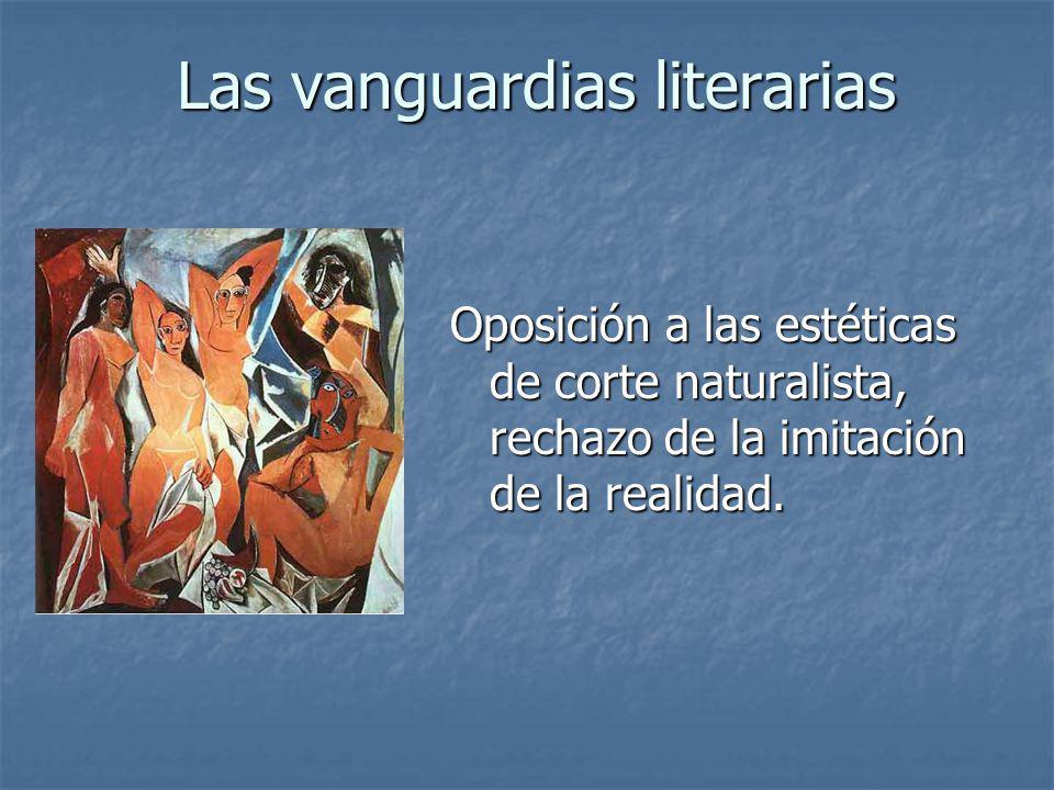 Oposición a las estéticas de corte naturalista, rechazo de la imitación de la realidad. Las vanguardias literarias