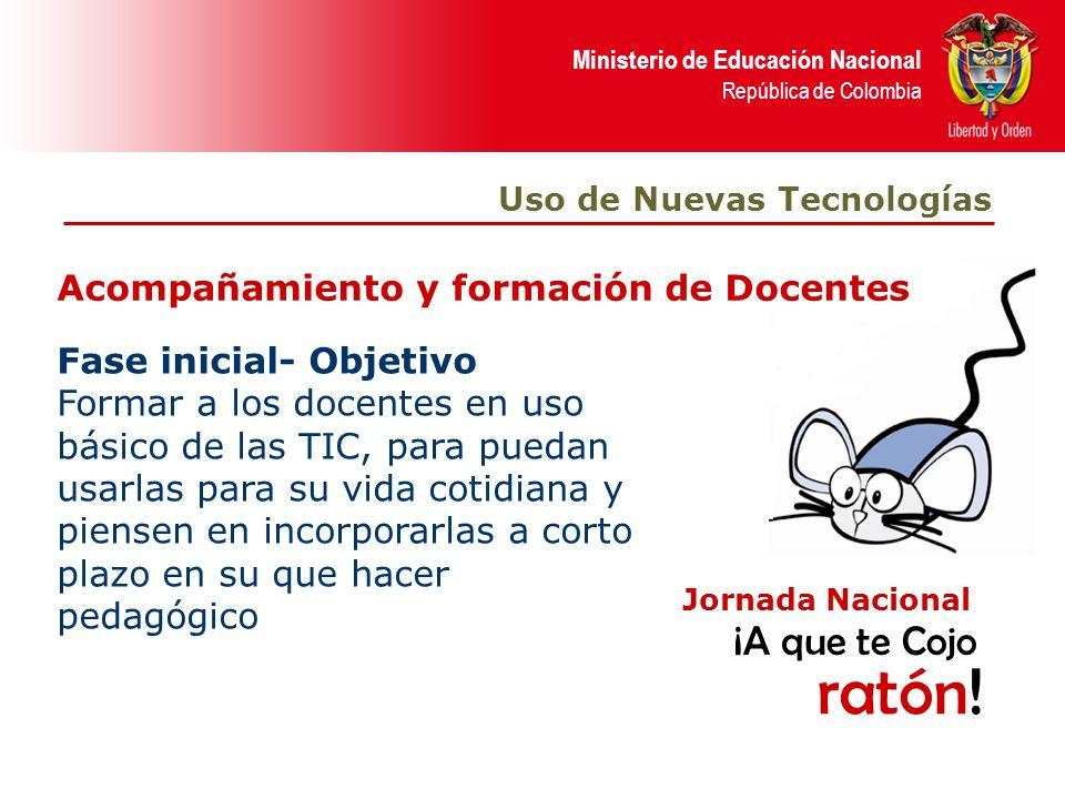 Ministerio de Educación Nacional República de Colombia Acompañamiento y formación de Docentes Fase inicial- Objetivo Formar a los docentes en uso bási