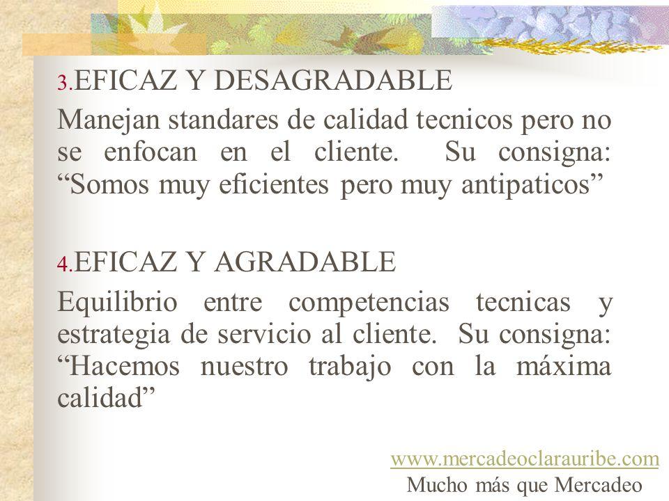 3. EFICAZ Y DESAGRADABLE Manejan standares de calidad tecnicos pero no se enfocan en el cliente. Su consigna: Somos muy eficientes pero muy antipatico