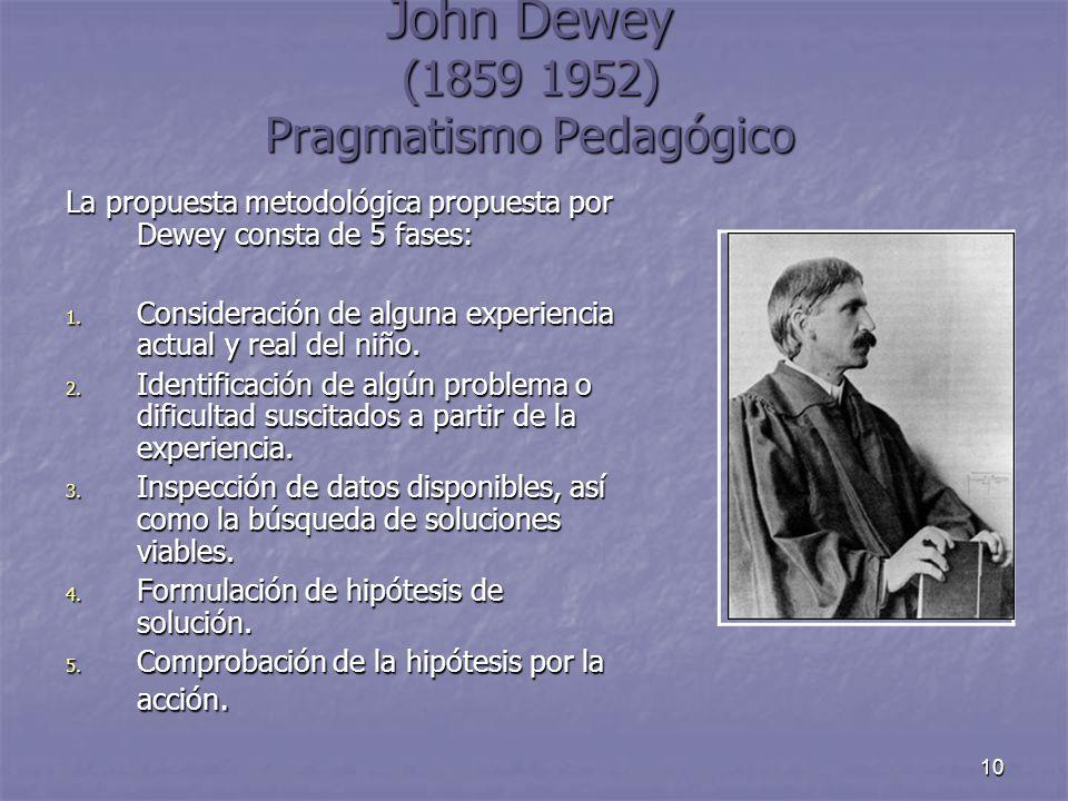 10 John Dewey (1859 1952) Pragmatismo Pedagógico La propuesta metodológica propuesta por Dewey consta de 5 fases: 1. Consideración de alguna experienc