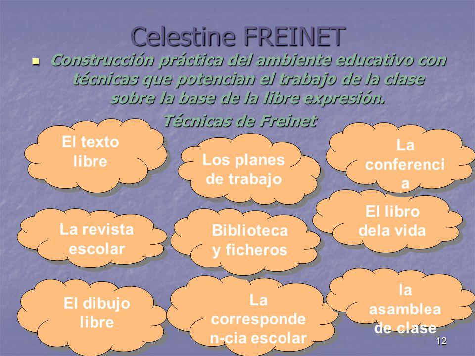 12 Celestine FREINET Construcción práctica del ambiente educativo con técnicas que potencian el trabajo de la clase sobre la base de la libre expresió