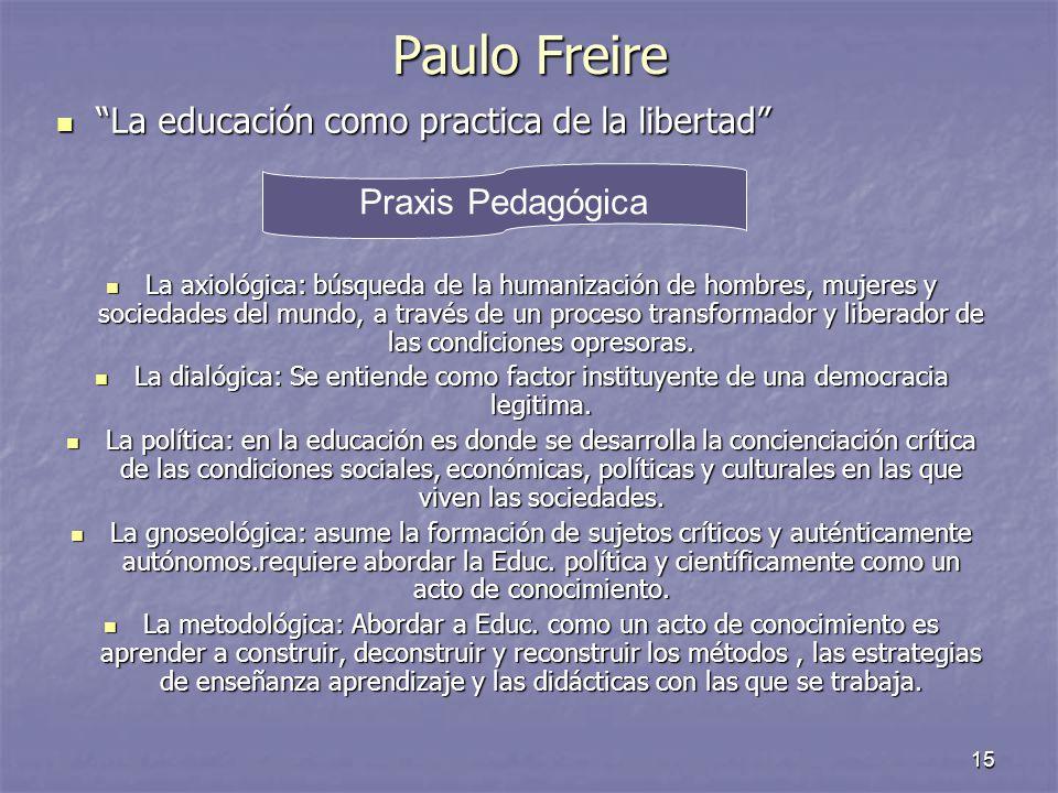 15 Paulo Freire La educación como practica de la libertad La educación como practica de la libertad La axiológica: búsqueda de la humanización de homb