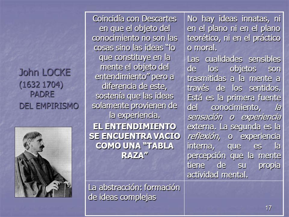 17 John LOCKE (1632 1704) PADRE DEL EMPIRISMO Coincidía con Descartes en que el objeto del conocimiento no son las cosas sino las ideas lo que constit