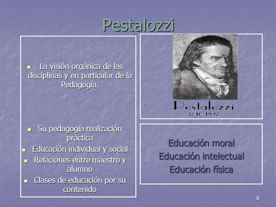 6 Pestalozzi La visión orgánica de las disciplinas y en particular de la Pedagogía. La visión orgánica de las disciplinas y en particular de la Pedago