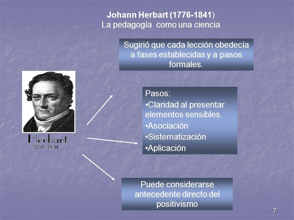 7 Johann Herbart (1776-1841) La pedagogía como una ciencia Sugirió que cada lección obedecía a fases establecidas y a pasos formales. Pasos: Claridad