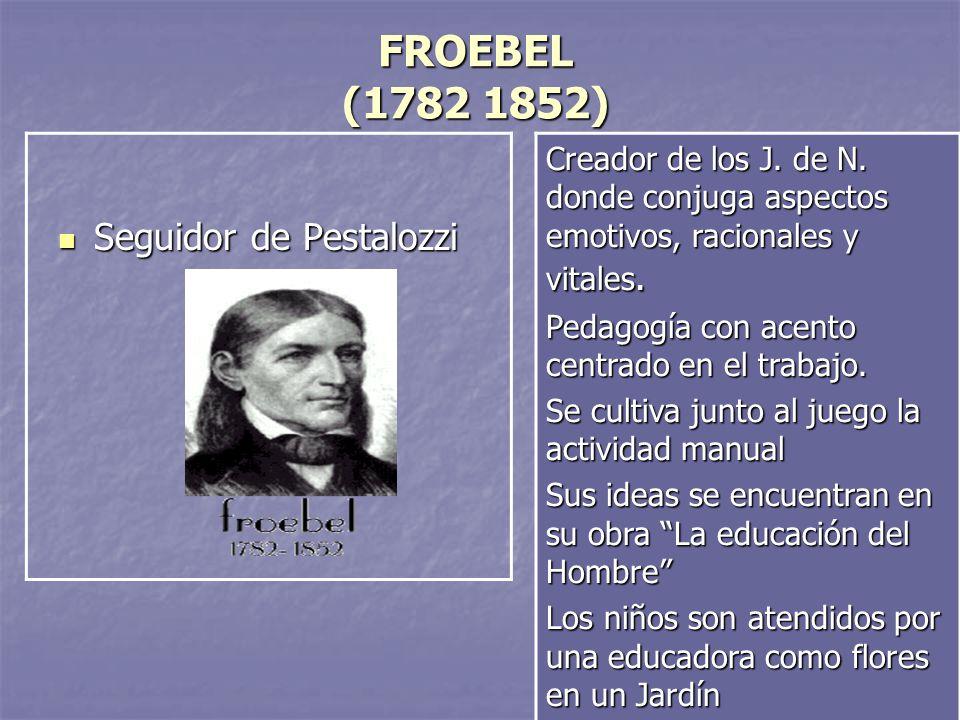 8 FROEBEL (1782 1852) Seguidor de Pestalozzi Seguidor de Pestalozzi Creador de los J. de N. donde conjuga aspectos emotivos, racionales y vitales. Ped