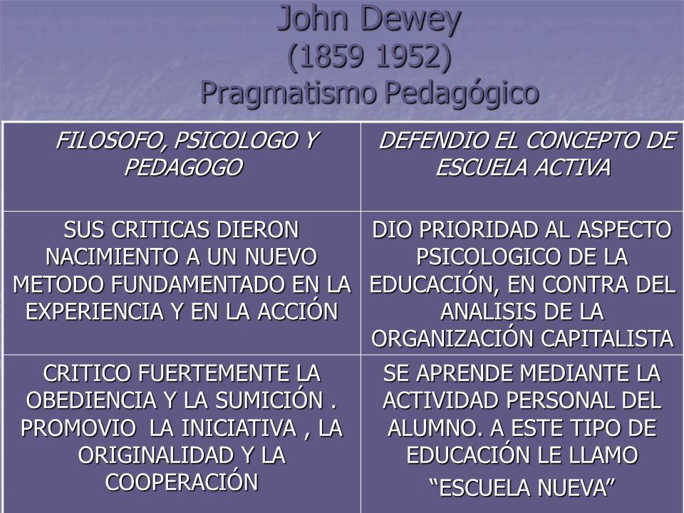 9 John Dewey (1859 1952) Pragmatismo Pedagógico FILOSOFO, PSICOLOGO Y PEDAGOGO FILOSOFO, PSICOLOGO Y PEDAGOGO DEFENDIO EL CONCEPTO DE ESCUELA ACTIVA D