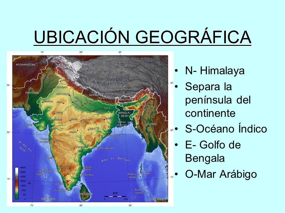 UBICACIÓN GEOGRÁFICA N- Himalaya Separa la península del continente S-Océano Índico E- Golfo de Bengala O-Mar Arábigo