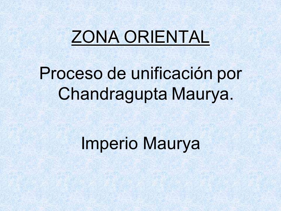 ZONA ORIENTAL Proceso de unificación por Chandragupta Maurya. Imperio Maurya