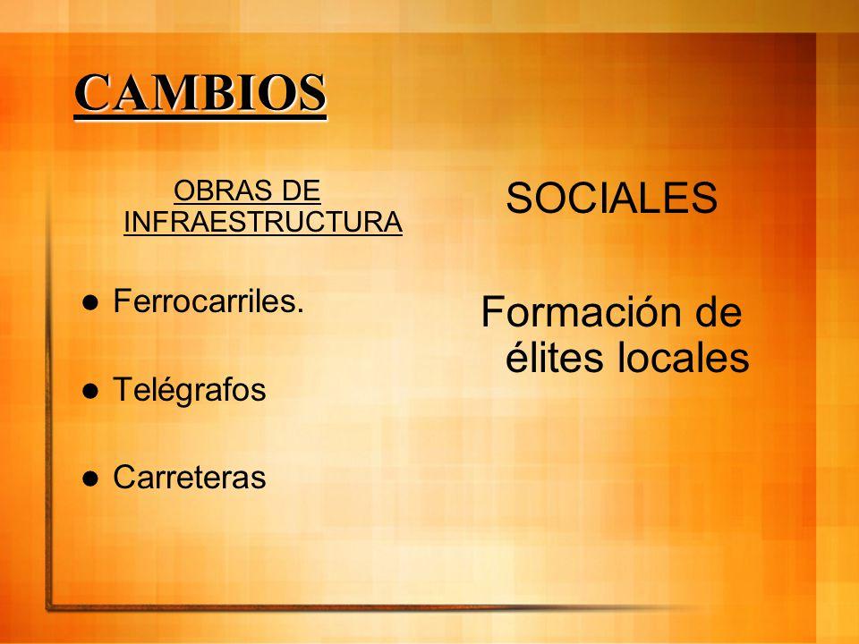 CAMBIOS OBRAS DE INFRAESTRUCTURA Ferrocarriles. Telégrafos Carreteras SOCIALES Formación de élites locales SOCIALES Formación de élites locales