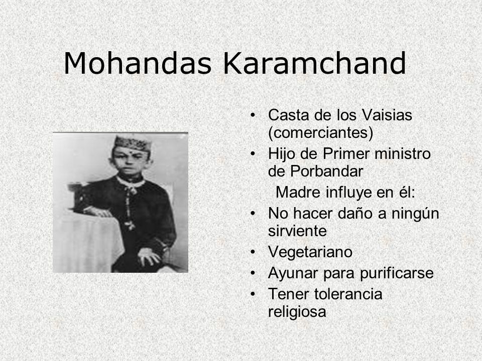 Mohandas Karamchand Casta de los Vaisias (comerciantes) Hijo de Primer ministro de Porbandar Madre influye en él: No hacer daño a ningún sirviente Veg