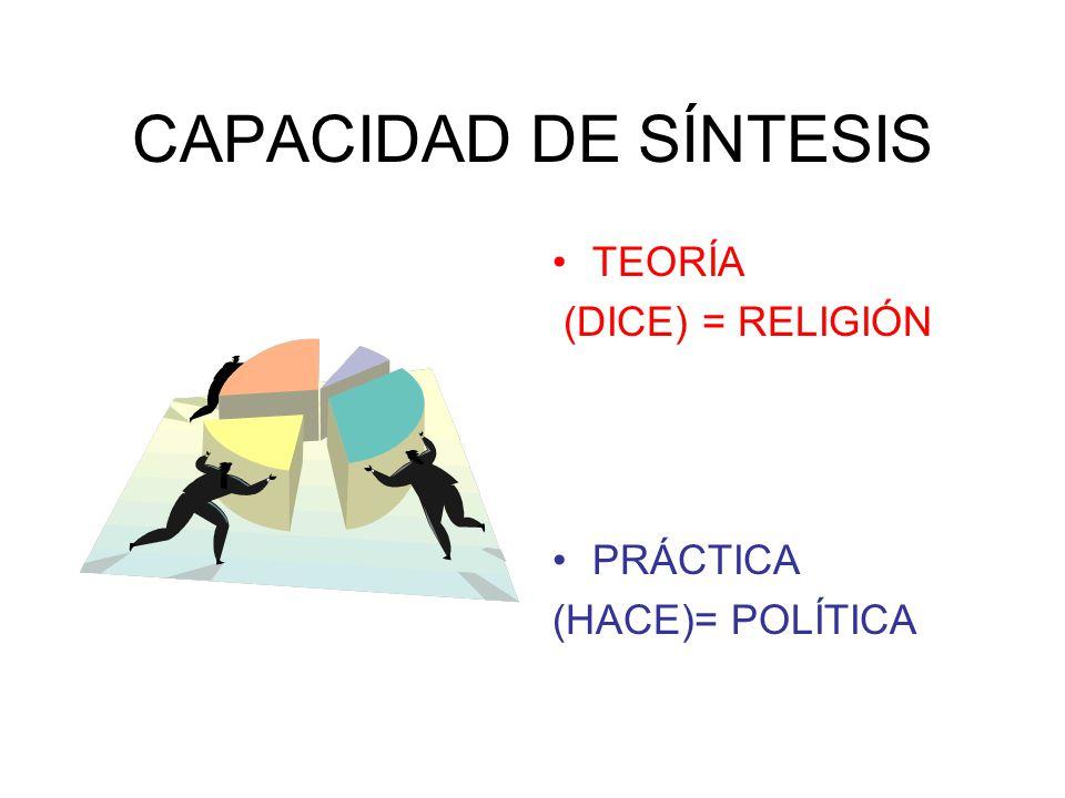 CAPACIDAD DE SÍNTESIS TEORÍA (DICE) = RELIGIÓN PRÁCTICA (HACE)= POLÍTICA
