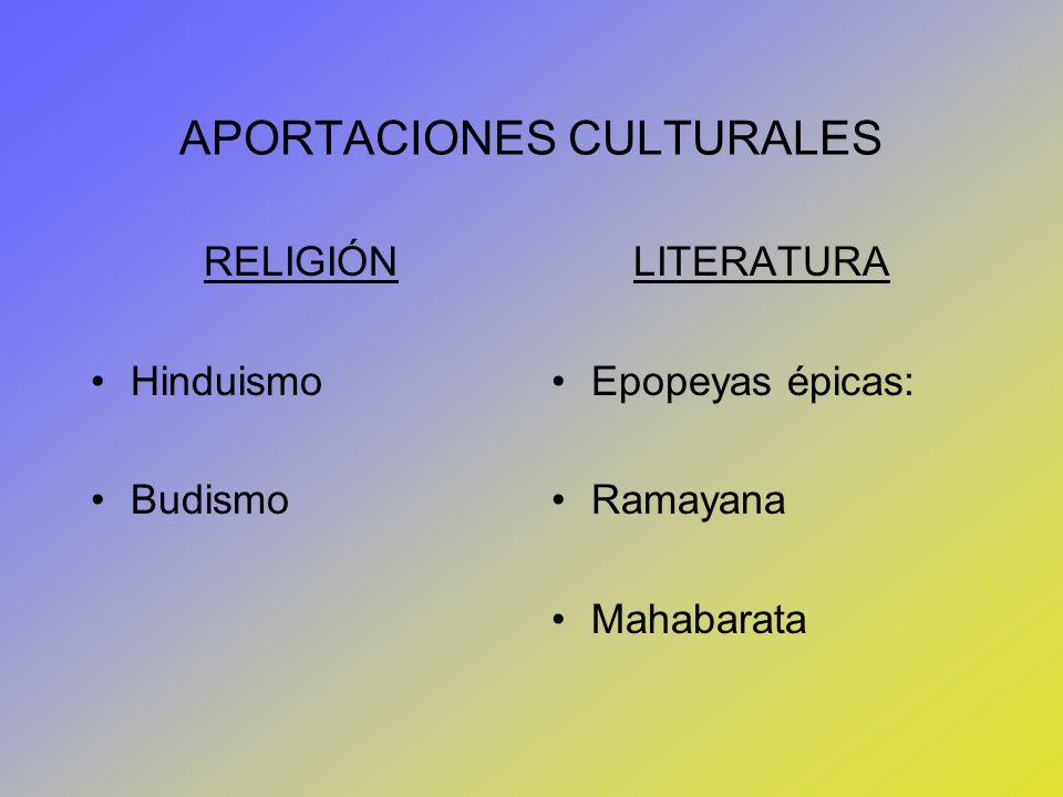 APORTACIONES CULTURALES RELIGIÓN Hinduismo Budismo LITERATURA Epopeyas épicas: Ramayana Mahabarata